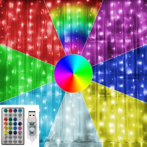 waterfall colour curtain lights