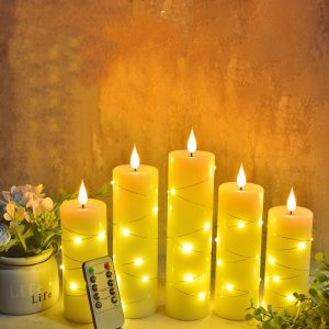 5 piece candle set with fairy lights remote control